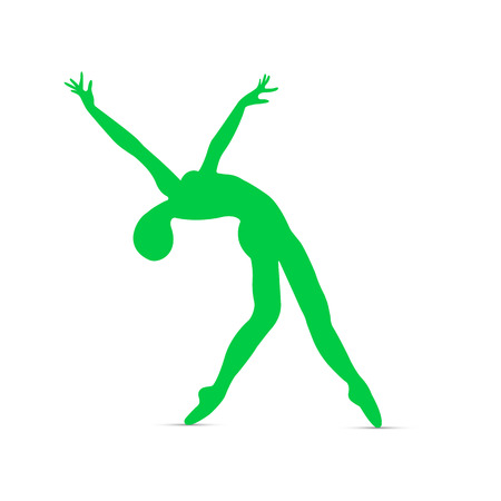 Silhouette of gymnast, ballerinas in dance pose on white background. Vector illustration