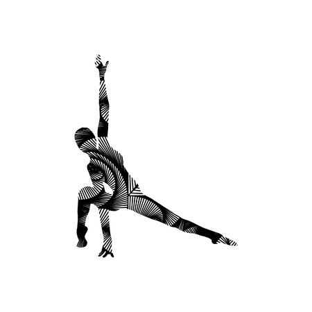 Silhouette of a girl doing modern dance, fitness, yoga, gymnastics, twine, ballet decorated with a pattern on a white background. Vector illustration Illustration