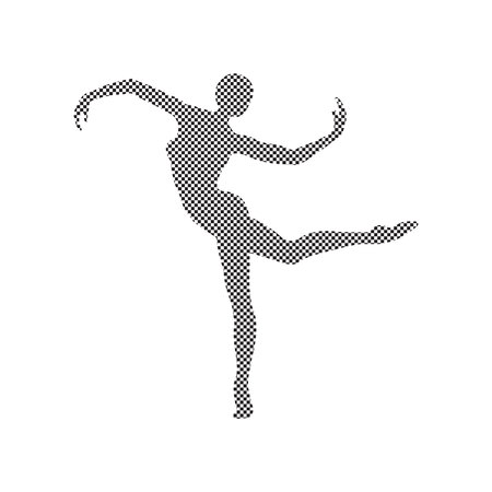 Silhouette of a girl doing modern dance, gymnastics and ballet decorated with a pattern on a white background.