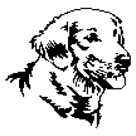 Dog pixilated painting.