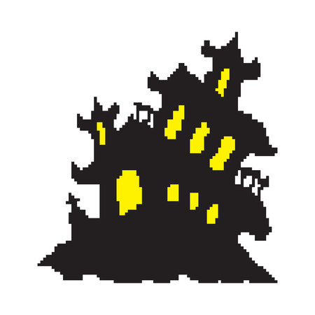 A haunted house, a horror house painted in pixels, a halloween. Vector illustration