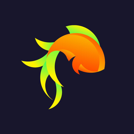 Logo with a golden ratio, goldfish. Vector illustration
