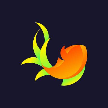 Logo with a golden ratio, goldfish. Vector illustration