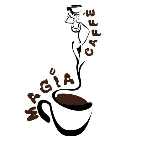 Logo for the coffee house, the image of a cup with a haze in the form of a beautiful girl. Vector illustration