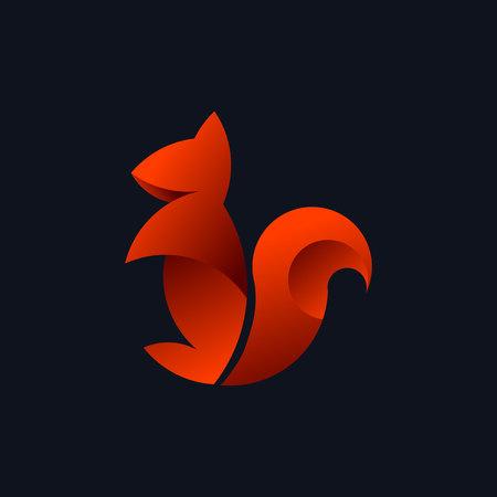 Logo with a golden ratio, Squirrel. Vector illustration Illustration