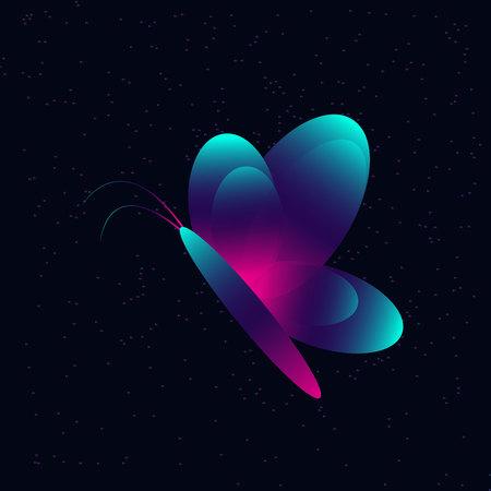 Neon butterfly on a dark flickering background. Фото со стока - 89200087