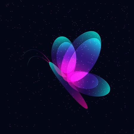 Neon butterfly on a dark flickering background.