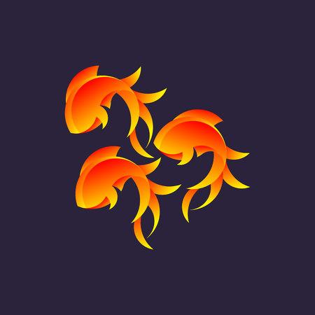 Logo with golden ratio, goldfish design illustration. Illustration