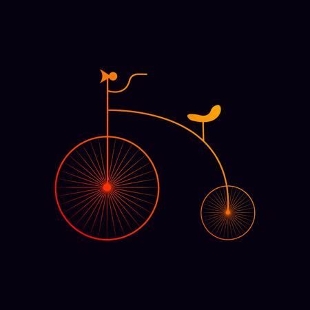 motorcycle logo design, old bicycle, vector illustration Illustration
