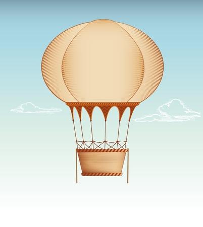 air travel: Illustrazione vettoriale Hot Air Balloon Vintage