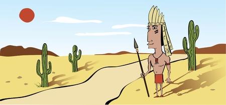 guerriero indiano: Questo � il guerriero indiano nativi americano in stile cartone animato