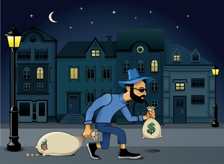 mugger: burglar walking jo the street at night  Illustration