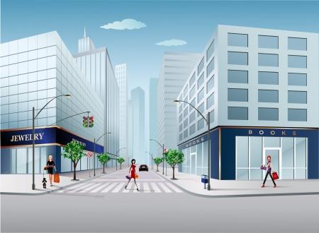 Großstadt-Szene Vektorgrafik