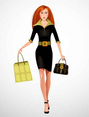 Beautiful woman with shopping bag  Vector