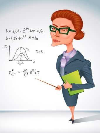 strict: bitchy teacher in glasses is holding pointer in her hand  Illustration