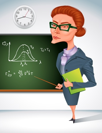 angry boss: bitchy teacher in glasses is holding pointer in her hand  Illustration