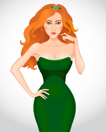 Beautiful redhaired woman in green dress   Vector