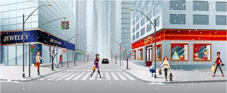 senda peatonal: calle de la ciudad Vectores
