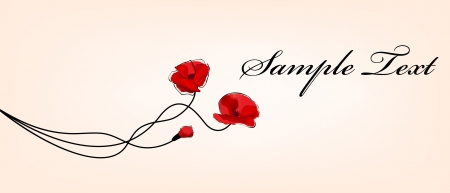 poppy flowers card Ilustração
