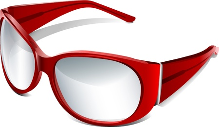 eye wear:  red eye glasses