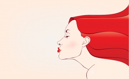 beautifull sensual young woman with red hair  Vector
