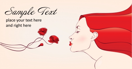 beautifull woman with redhair smells flowers  Vector