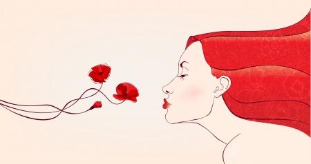 beautifull woman with redhair smells flowers  Ilustração