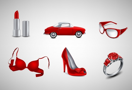 bra: red female icons Illustration