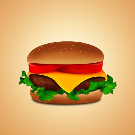 burger with salad Imagens