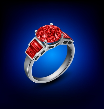 ruby stone: ring on background