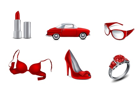accessory: set woman s icons on white background  Stock Photo