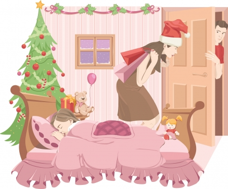 nursery room: Mama-Santa put on Christmas present till her daughter sleeps  Dad is waiting in the doorway  Illustration