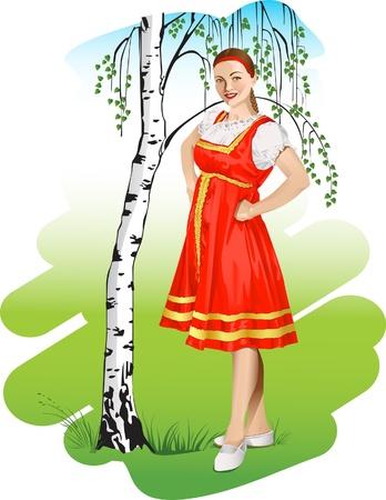 Girl in a russian national costume near birch