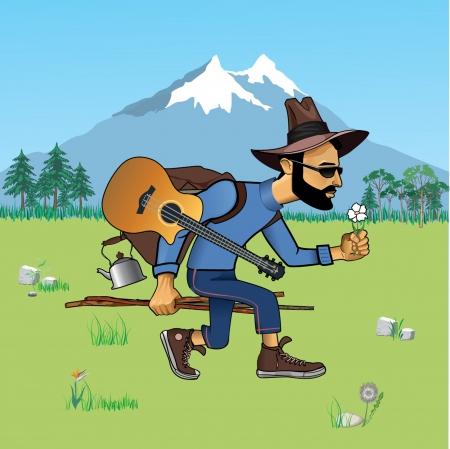 monta�as caricatura: turismo en la naturaleza