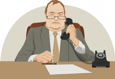 angry boss: angry director talk by phone Illustration