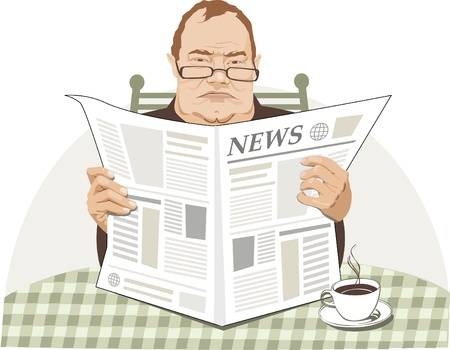 Angry man reads paper and have breakfast  Иллюстрация