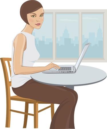 Illustration d'une jeune femme dans le bureau de l'ordinateur Banque d'images - 14894841