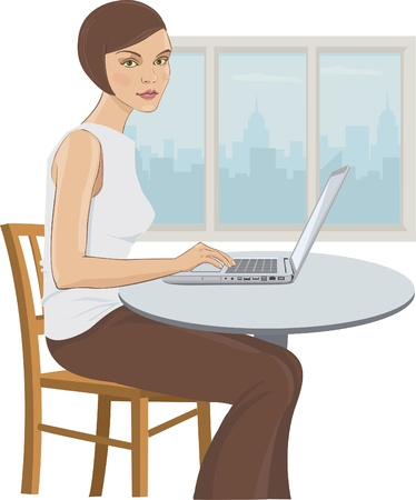 busy city: Illustration of a young woman in the office by the computer