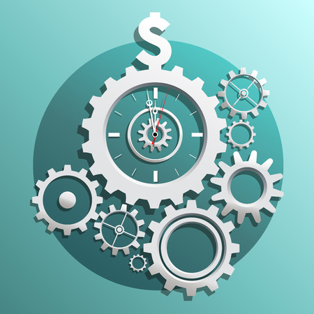 interlocking gears with watch clock arrows in the middle pointing on dollar sign Illusztráció