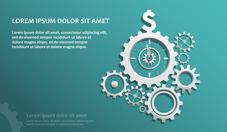 interlocking gears with watch clock arrows in the middle pointing on dollar sign with text on blue background