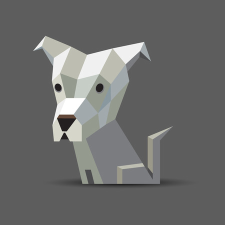 Vector polygonal illustration of a light white and grey origami dog