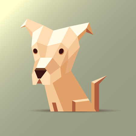 origami paper: Vector polygonal illustration of a light white and orange origami dog