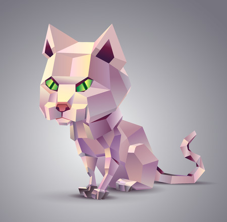 grey cat: Polygonal cat sitting on a grey background
