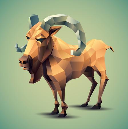 Vector Illustration of Colorful Beige Polygonal Goat with Grey Horns on Blue Green Background Ilustração