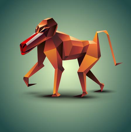 mandril: Ilustraci�n del vector de la poligonal del mono babuino