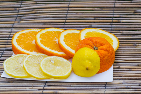 juicy: delicious orange and juicy lemon
