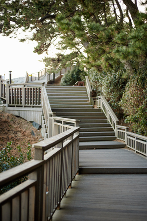 spiritless: wooden stairs Stock Photo