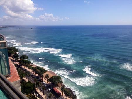 Coastline Caribbean sea malecon Santo Domingo, Dominican Republic Stock Photo