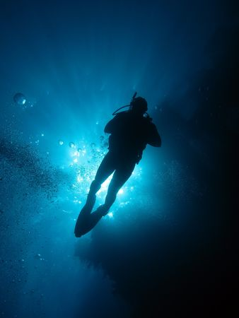 skin diving: Scuba Diver                    Stock Photo