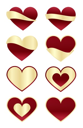 mariage: Set of Red Hearts with Gold Labels